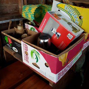 Banana boxes of goods