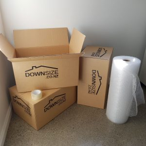 Boxes tape and bubble wrap